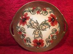 Antique-Hand-Painted-Art-Nouveau-Poppie-Flowers-Gold-Limoges-Platter-L321