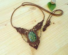 Rainforest jasper macrame necklace macrame stone rhyolite