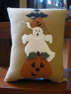 Primitive Penny Rug Pillow....Halloween Friends. $22.00, via Etsy.