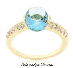 Vana Aqua Blue Oval Cut Gold Ring |2.2ct |Cubic Zirconia | 18k Gold » Beloved Sparkles | Fine Cubic Zirconia Jewelry | Crystal Hair Accessories
