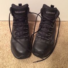 Converse Steel Toe Boots Black lace up steel toe boots with inside zipper/Velcro feature for easy on/off. Great for EMT/paramedic use. Worn only a handful of times. Converse Shoes Lace Up Boots