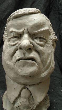Resin Composite #sculpture by #sculptor Richard Austin titled: 'Bust of John Prescott (Satirical Caricature statue)'. #RichardAustin