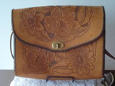 Vintage Hand Tooled Brown Leather Purse Clutch