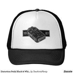 Distortion Pedal Black & White 1987 Trucker Hat #guitar #pedal #metal #heavymetal #1987