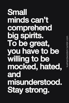 Las mentes pequeñas no pueden comprender a los grandes espíritus. Para ser grande, debes estar dispuesto a ser burlado, odiado e incomprendido. Mantente firme.