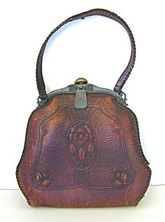 Antique Art Nouveau Edwardian Hand Laced & Tooled Leather Purse by Jemco