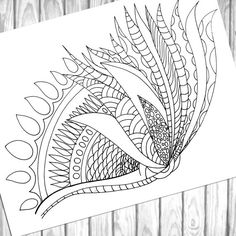 Adult Coloring Page Flower coloring Page wall art by olyadesign