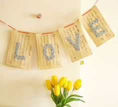 Neat idea for decor on old sheet music ... looks like great tie in for theme... thanks, Emily!