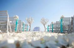 Manzanita trees with orchids beach wedding ceremony with tiffany blue accent | VIA #WEDDINGPINS.NET