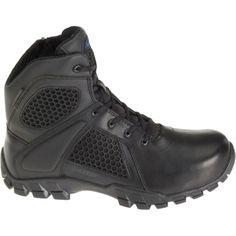"""Bates Men's Strike 6"""" Waterproof Side Zip Work Boots, Size: 12.0 WIDE, Black"""