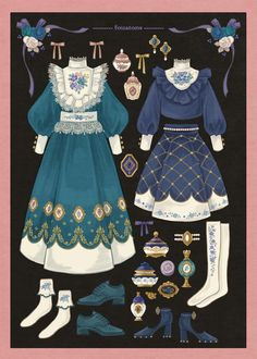Vintage Fashion Sketches, Fashion Design Drawings, Anime Outfits, Cute Outfits, Kleidung Design, Estilo Lolita, Fashion Art, Fashion Outfits, Anime Dress