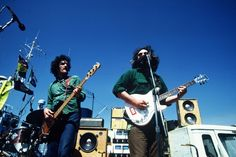 Legendary rock guitarist Jerry Garcia, Grateful Dead, plays a benefit concert for Greenpeace on Pier 31 in San Francisco in front of the Greenpeace ship James Bay. 08/19/1977