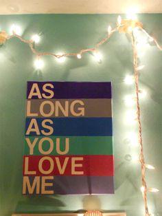As long as you love me - Justin Bieber lyrics painted canvas, DIY tutorial.
