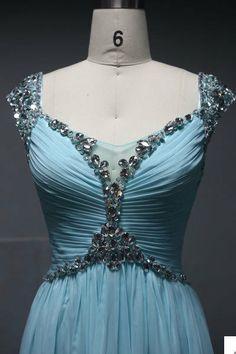 Custom Made Prom Dress,Cap Sleeves Prom Dress,Chiffon Prom Dress, Beaded Bridesmaid Dress on Wanelo