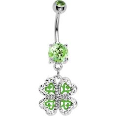 Green Gem Four Leaf Shamrock Belly Ring