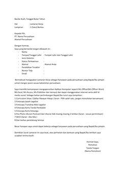 Surat Lamaran Kerja Telkomsel | ben jobs