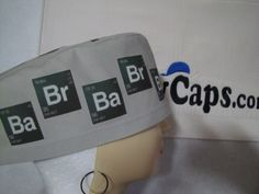 Element symbols for Breaking Bad across the front band of a scrub cap.