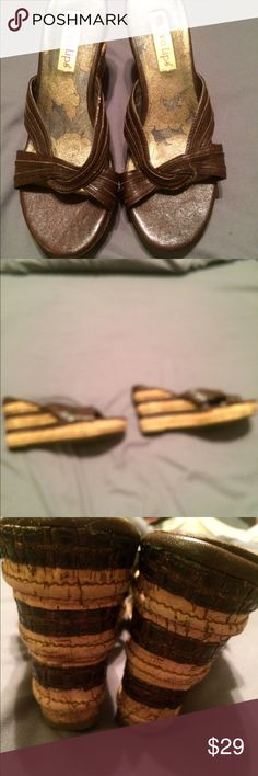 Two lips wedges Barely worn. Not sure of size think they are a 6.5 Shoes Wedges