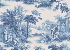 Annandale Wallpapers - Toile Villandry Blue 99/1001