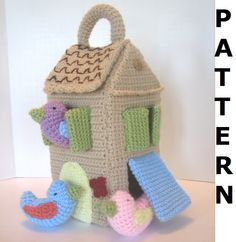 Bird House Crochet Pattern - finished items made from pattern may be sold. $5,00, via Etsy.
