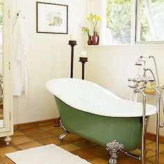 Bathub A claw-foot tub looks luxurious no matter what, but painting it a bright color gives your bathroom a playful, modern feelA claw-foot tub looks luxurious no matter what, but painting it a bright color gives your bathroom a playful, modern feel Diy Bathroom, Diy Paint Projects, Interior, Tub Paint, Home, Painting Bathtub, Stylish Bathroom, Room Paint, Bathtub