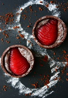 chocolate tarts with raspberry-poached pears