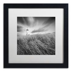 "Trademark Art ""Yaquina Lighthouse III"" by Moises Levy Framed Photographic Print Size: 16"" H x 16"" W x 0.5"" D"