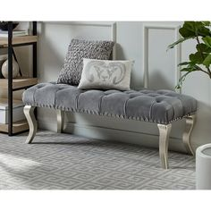 Decor Maxem Tufted Faux Leather Upholstered Seat with Nailhead Trim Bench - Grey