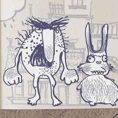 mr.Egg👀 and mr.Rabbit 🐇 #art #illustration #sketch #sketchbook #doodle #doodleart #game #indiegame #monster #escapedoodland #gamedev #rabbit #drawing #draw #drawings
