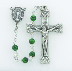 Regina's Catholic Gifts - Genuine 4 mm Malachite Beads Deluxe Crucifix and Center-17, $27.95 (http://www.reginascatholicgifts.com/genuine-4-mm-malachite-beads-deluxe-crucifix-and-center-17/)