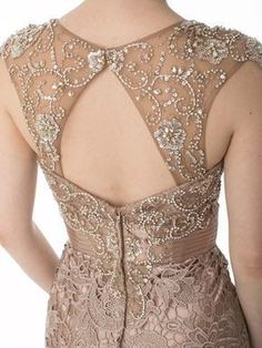 Rhinestone Illusion Bodice Mocha Lace Gown Neckline Designs, Kurti Neck Designs, Dress Neck Designs, Blouse Designs, Vintage Outfits, Vintage Inspired Outfits, Vintage Dresses, Marine Uniform, Lace Evening Gowns
