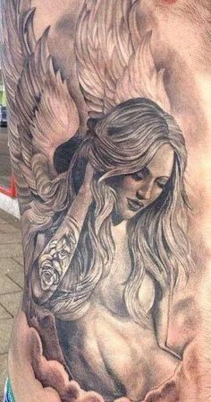 - I love this idea - but with clothes on - Tattooed angel, tattoo.- I love this idea – but with clothes on - Chicano Tattoos, Chicano Art, Body Art Tattoos, Tattoo Drawings, Sleeve Tattoos, Cross Tattoos, Finger Tattoos, Celtic Tattoos, Belly Tattoos