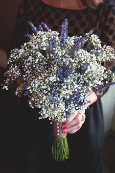 Lavender and Baby's Breath (Interesting idea...I'd maybe use more lavender than b.b. or make a smaller posy)