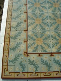 12m2 French Art Nouveau ceramic floor with striking double borders - The Antique Floor Company