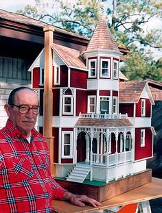 william cole dollhouse | Dad with his last dollhouse project - Marti Coles house completion -