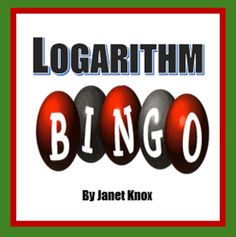A great calculator activity--includes 16 Bingo Cards and 36 Logarithm Questions. (Cards can be printed two per page if desired. Make two sets to ac. Algebra 2 Activities, High School Activities, Math Lesson Plans, Maths Algebra, Math Resources, Math Strategies, Math Teacher, Math Classroom, Teaching Math