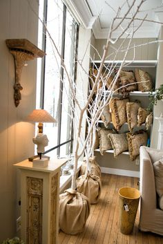 white tree branches for decorations