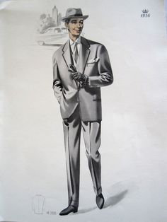 Vintage French Fabulous 1956 Mens Fashion Print From Clothing Catalogue by VintageFrenchFinds, $22.00