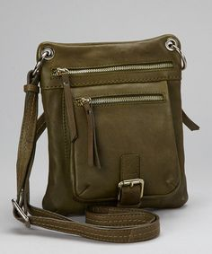 Take a look at this Moss Leather Buckle Crossbody Bag by Nino Bossi Handbags on #zulily today!
