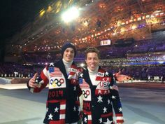 US Olympic Skier Nick Goepper and snowboarder Shaun White at the #sweatermonies. LOL. Sochi. Feb 7, 2014.