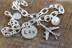 Airport Code Bracelet, Airplane Necklace, Personalized Gifts for Pilot Flight Attendant, 925 Sterling Silver Jewelry by Shiny Little Blessings.