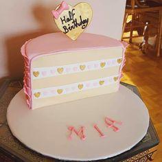 Half birthday 6 months baby girl birthday cake