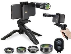 MY MIRACLE Camera Shutter Remote and Lens Kit for iPhone 66s6plus6splus77plus  12x Telephoto  CPL  Fisheye  2in1 Macro  Wide Angle Lens  Tripod  Tripod Adapter  Hard Case  Universal Clip * Click image for more details. Note: It's an affiliate link to Amazon