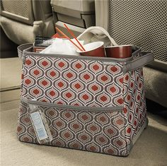 High Road StableMate - Extra Large Car Trash Bin - Cranberry-Red and Taupe - Sahara Pattern