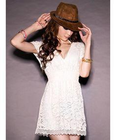 White Korean Fashion Women V-Neck Cute Korean Fashion Lace Sleeveless Dress A7262