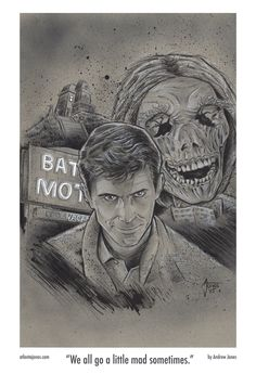 """""""We all go a little mad sometimes.""""Anthony Perkins as Norman Bates from Hitchcock's Psycho. This is a print of an original piece of art, drawn with pencil and ink on toned gray paper.Note: this is a reproduction, not the original artwork."""