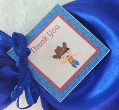 PARTY PACK Sets of 6 to 12 - Cowboy Blue Favor Bags (Filled) by TeatotsPartyPlanning on Etsy