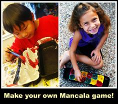 Make Mancala Game- learn the history, how to play, and try an on-line mancala game. Kids in Ethiopia play this!