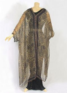 Fortuny delphos gown and stenciled silk gauze wrap, c.1920