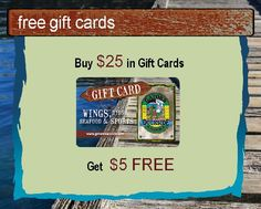 Get $5 free when you buy $25 in Gift Cards!